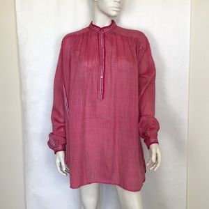 Deadstock 70s vtg pink striped free size tunic top